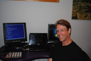 Erik Antelman, a software architect, with some of his hardware.