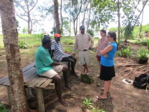 Cullman talking with colleagues and partners in the Solomon Islands