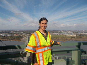 Civil Engineer Rachel Davidson brought her statics students up a tower of the Delaware Memorial Bridge.