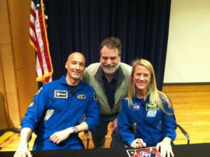 Spacecraft Systems Engineer Paul Mirel with Astronauts Karen Nyberg and Luca Parmitano, just after they returned from the International Space Station.