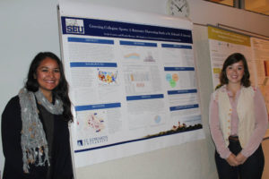Romero's research partner, Emily Conway, and Romero herself at an Ecosystem Services Conference at the Finnish Environment Institute in Helsinki, Finland, where they presented their rainwater harvesting research from St. Edward's University.