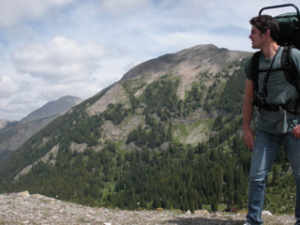 Microbial Biologist Sean Gibbons hiking in the Anaconda-Pintler wilderness, in Western Montana.