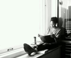 Rae Wynn-Grant circa 2012, studying for her oral qualifying exams at Columbia University.
